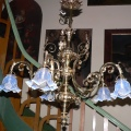 Five-arm chandelier with the blue lampshades