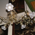 Brass five-arm chandelier