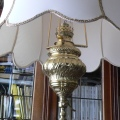 Brass standard lamp with the silk lampshade