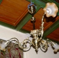 Brass three-arm chandelier