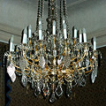 Chandelier – gilded iron – crystal from the nineteenth century for Nostic Palace in Prague (after restoration)