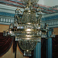 Chandelier in the Empire style with a metal frame and glass decorations from the castle in Kunin (after restoration)